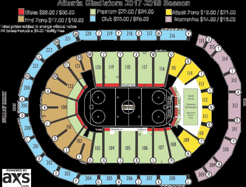 Infinite Energy Center Seating Chart Atlanta Gladiators
